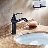 Beelee Schwarz Einhebel Wasserhahn Armatur Waschtischarmatur Messing Einhandmischer für Badezimmer Waschbecken,Öl gerieben Bronze