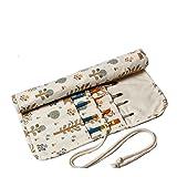 Amoyie - Porta pennelli arrorolabile, raccoglitori pennelli de tela per Acquerello ad Olio Principianti, sacchetto organizer per Bambini, Artisti e Amanti della Pittura