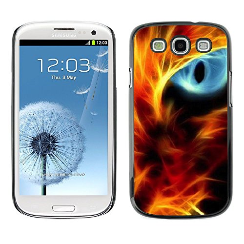 [Neutron-Star] Snap-on Series Coque de protection rigide Cas Case pour Samsung Galaxy S3 [Feu Cat Eye Red Flames Neon Light Noir]