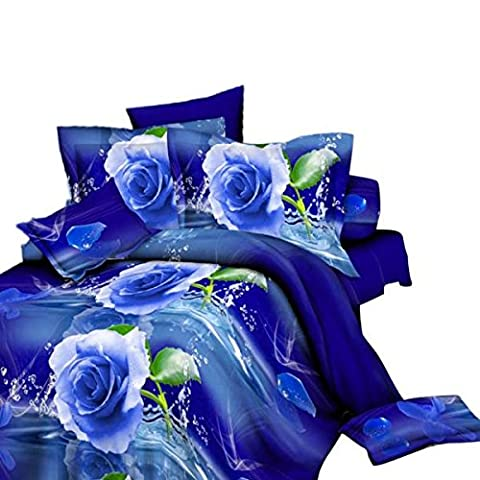 3D Print Duvet Cover Sheet Bed Linen Pillowcase Bedding Set Double Queen 10 Patterns - Blue Rose 2, Refer to