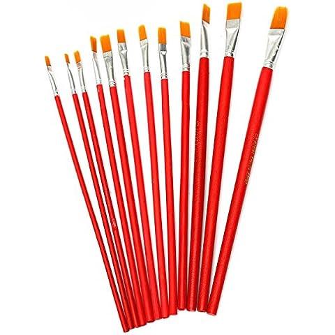 Yongse 12pcs Nylon Art Flat punta della penna acquerello pittura ad olio Disegno Maniglia Pennelli Set