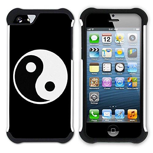 Graphic4You Yin und Yang Chinesisch Symbole Hart + Weiche Kratzfeste Hülle Case Schale Tasche Schutzhülle für Apple iPhone SE / 5 / 5S Design #13