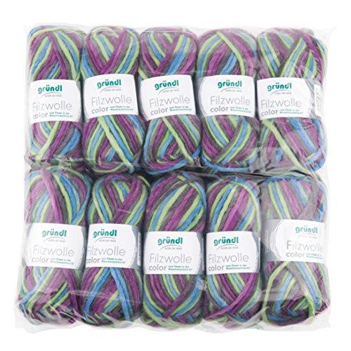 Gründl Color, Vorteilspack: 10 Knäuel à 50 g Filzwolle, Wolle, lila-grün-Multicolor, 31 x 32 x 6 cm -