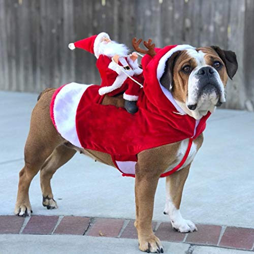 Everyday's A Kostüm Party - AMURAO Weihnachten Haustier Santa Kostüme Holiday Party Dressing Up Kleidung Small Medium Large Dogs Funny Riding Outfit