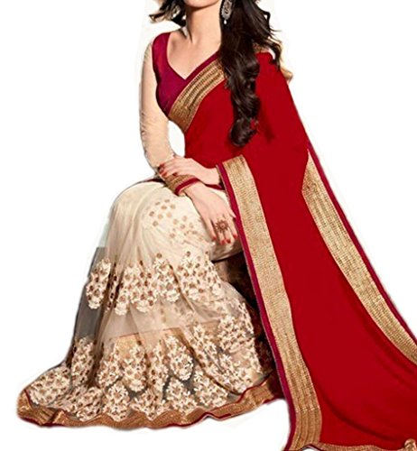 Sarees ( Celeb Styles Women\'s clothing saree for women latest Georgette and Net saree collection in latest saree beautiful saree for women party wear offer designer saree with blouse)