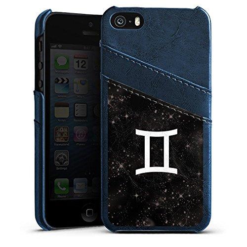 Apple iPhone 4 Housse Étui Silicone Coque Protection Signes du zodiaque Jumeau Astrologie Étui en cuir bleu marine