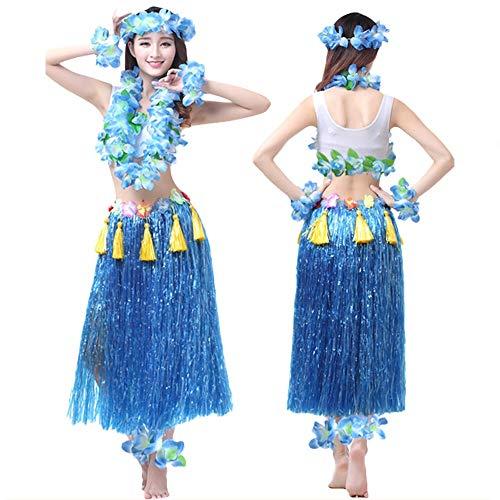id Kostüm - Hawaii Tanzkleid Grasrock Zubehör Sexy Outfit Kleidung Set Verzierung Quasten Blumen Party Cosplay Maskerade Strandurlaub für Damen Mädchen - Kunststoff 8 In 1 (Blau) ()