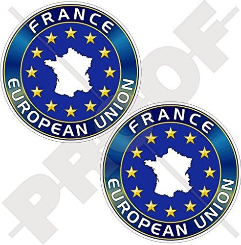 Union européenne France Carte forme eu-fr europe-french 75 mm (7,6 cm) Bumper en vinyle autocollants, Stickers x2