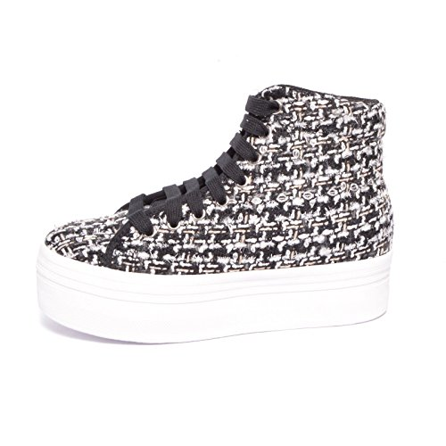 E-PLAY BY JEFFREY CAMPBELL, HOMG, Sneaker donna, ALTA in TWID e GLITTER, plateau 4,5 cm, Taglia 38