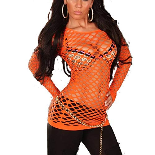 Langarm Netzshirt Shirt Gogo Einheitsgröße für 34,36 und 38 - 11 Farben (one size, Orange)