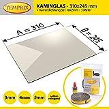 Kaminglas und Ofenglas 310 x 245 x 4 mm | Temperaturbeständig bis 800° C | » Wunschmaße auf Anfrage « | inkl. 10 x 2 mm Kamindichtung