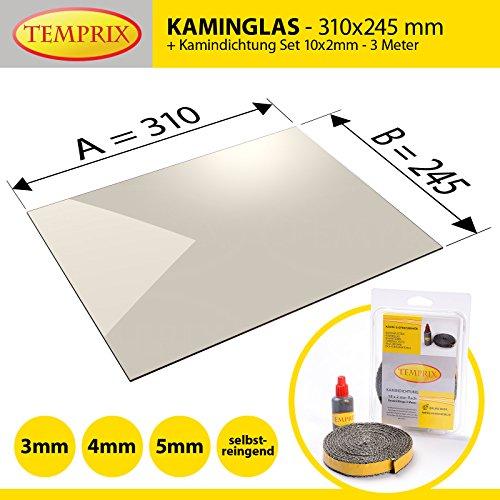 Kaminglas und Ofenglas 310 x 245 x 4 mm   Temperaturbeständig bis 800° C   » Selbstreinigend «   inkl. 10 x 2 mm Kamindichtung