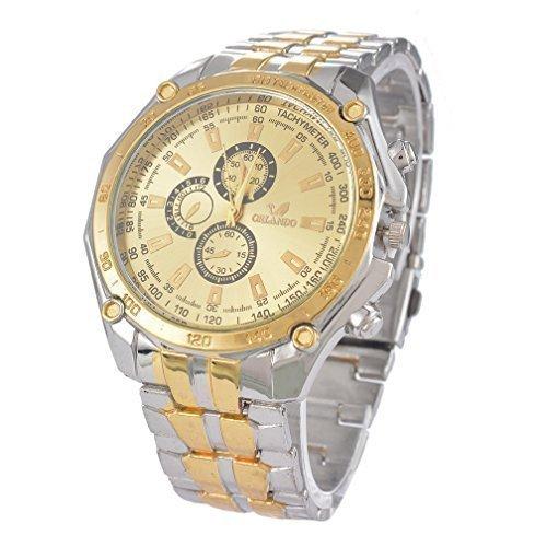 Souarts Men Steel Band Round Dial Analog Quartz Wrist Watch (Gold) 23cm