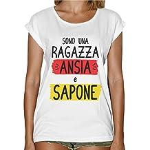 T-Shirt Donna Fashion Divertente Ragazza Ansia E Sapone d6e3af8f57a8