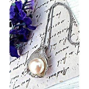 Echte Süßwasserperle 925er Sterling Silber Anhänger und Kette - Perlenkette für Frauen AAAA Zirkon Muschelkette Braut Halskette Brautjungfer Schmuck GeburtstagsGeschenk Muttertagsgeschenk