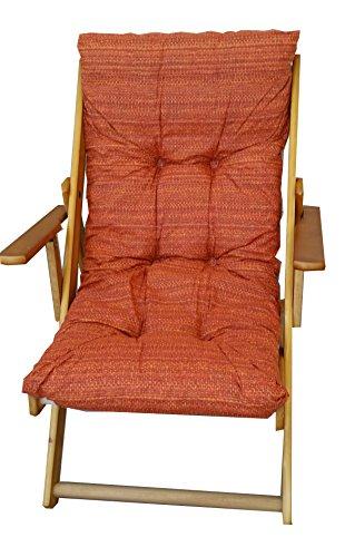 Poltrona sedia sdraio relax 3 posizioni in legno pieghevole cuscino imbottito h 100 cm soggiorno cucina salone divano armchair sofa' (rosso)