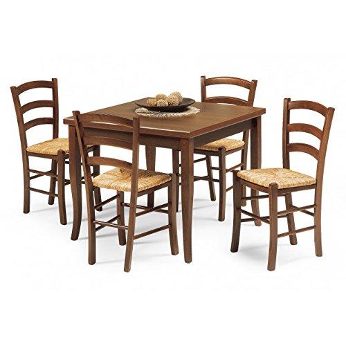 Mobili Ilar Set Table + 4 chaises Rustique Assise Bois