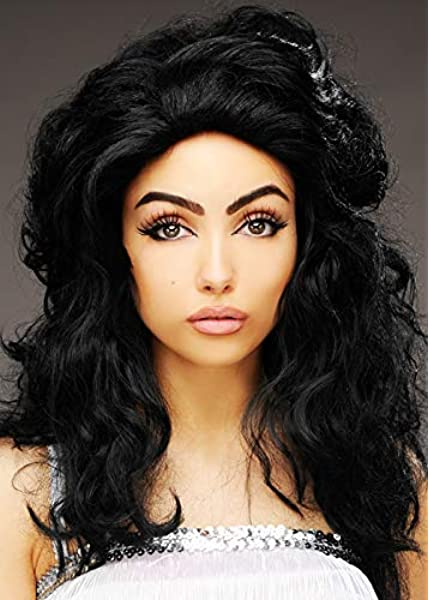 Magic Box Womens 60s Priscilla Presley Style Black Backcombed Wig