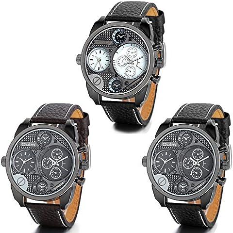 Jewelrywe 3Pcs Orologio da Polso Uomo Watch Cinturino Pelle Sporto 2 Time Zones Bianco Coffee Nero