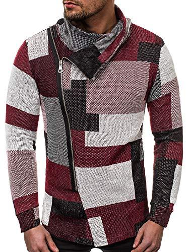 OZONEE Herren Sweatshirt Pullover Motiv Aufdruck Modern Pulli Täglichen Streetwear Sportswear Langarmshirt 777/763B ROT XL