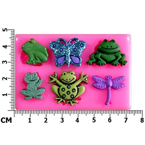 Teich Leben kleine Frosch Kröte Schmetterling Libelle SilikonForm für Kuchen Dekorieren, Kuchen, kleiner Kuchen Toppers, Zuckerglasur, Fondantform, Sugarcraft Werkzeug durch Fairie - Halloween-bend-oder