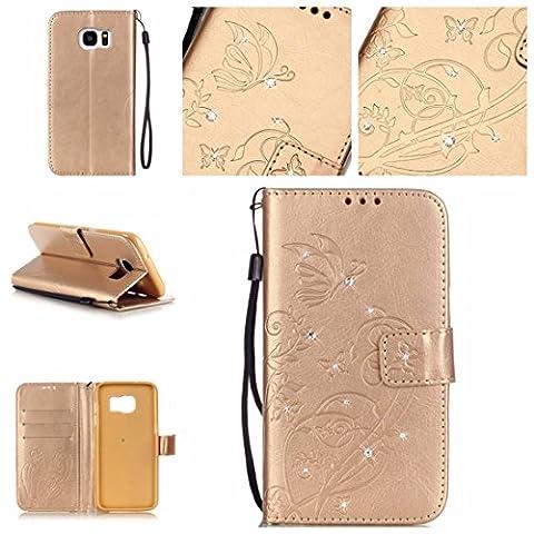 Nancen Samsung Galaxy S7 Edge / SM-G9350 (5.5 pouces) coque , PU Cuir Portefeuille Etui Housse Case Cover , carte de crédit Fentes pour , L'utilisation de la technologie de pointe , gaufrage , cristal de diamant - Fleur - Butterfly , idéal pour protéger votre téléphone