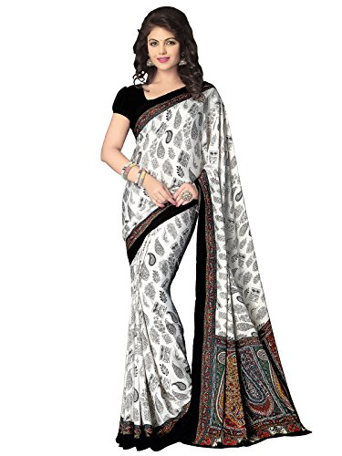 Kanchnar women's Printed Italiyan Crepe Casual Wear Saree With Unstitched Printed Blouse...