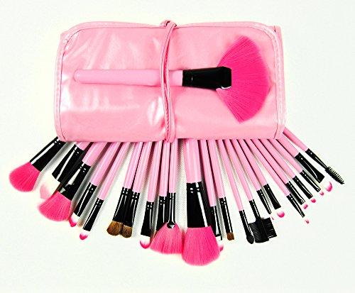 JVJ 24 Pinceaux de Maquillage Professionnels + Pochette de voyage - Fard à Paupières, Sourcil, Cil, Lèvre, Poudre, Blush, Anti-cernes, Fond de teint, Fard à joues - Make Up Brushes - Make Up Brushes Kit --Rose