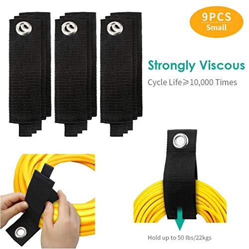 Xbeast 9 Pack Extension Cord Holder Organizer, Hochleistungsspeichergurte, industrielle Stärke-Klettverschlussbänder (S) -