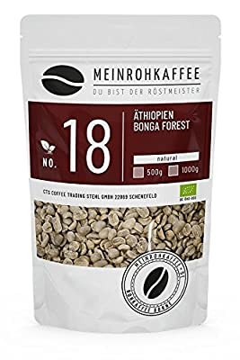 Green Coffee - Ethiopia Bonga Forest (Green Coffee Beans) - Strong, Spicy Aroma and Unique Fullness - from Controlled Biological-Organic Cultivation - 500g by kaffeearomen