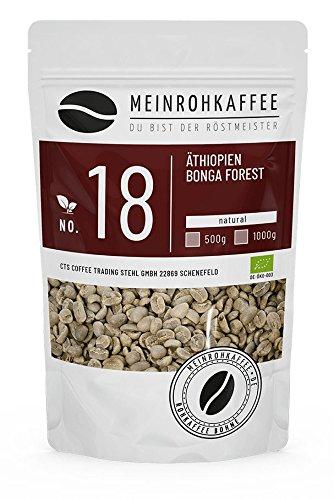 Rohkaffee - Äthiopien Bonga Forest (grüne Kaffeebohnen) - kräftiges, würziges Aroma und einzigartige Fülle - 500g