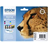 Encre d'origine EPSON Multipack Guépard T0715 : cartouches Noir, Cyan, Magenta et Jaune