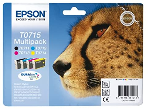 Epson Original T0715 4-Cartridge Multipack (Cyan T0712, Magenta T0713, Yellow T0714 and Black T0711)
