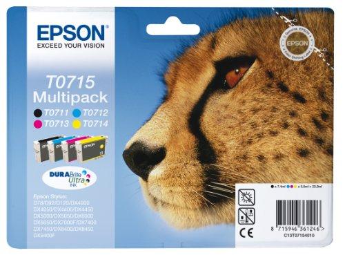 epson stylus bx300f Epson Original T0715 Tinte Gepard, wisch- und wasserfeste (Multipack, 4-farbig) (CYMK)