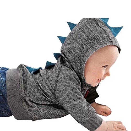 Vovotrade Toddler Boys Girls Fashion Dinosaur Pattern Hooded Coat Infant Zipper Cardigan Hoodie Long Sleeve Outfits (90 (12-18months), Dark Grey)
