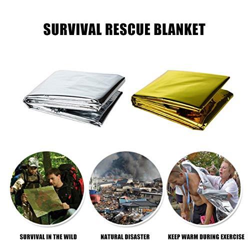 Senrise Medi Notfallfolien-Decke, reflektierend und thermisch, Notfall, Rettungsdecke, Überlebens-Decken für Camping, Outdoor, Wandern, Survival, Marathons (1/2/5/10er-Pack), silber -