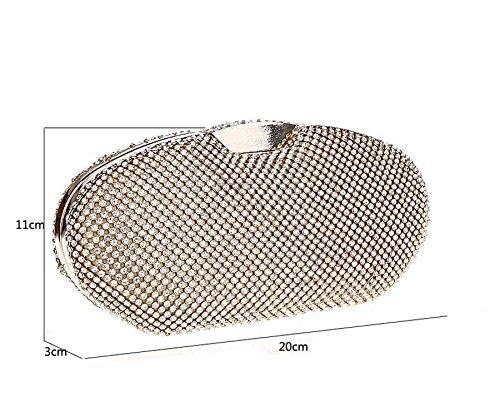 KAXIDY Luxus Damen Abendtasche Oval Handtasche Unterarmtasche Damentasche Strassbesatz Handtasche Diamanten Gold