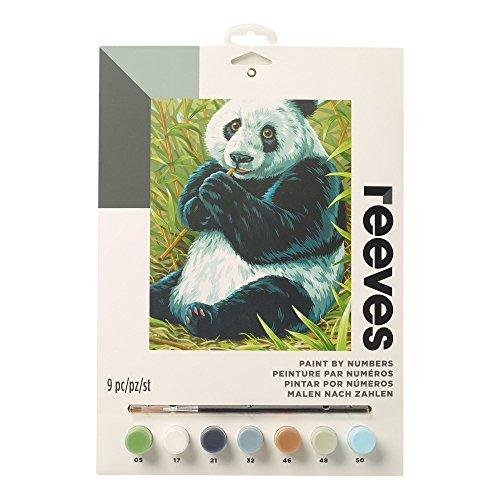 Reeves PPNJ204 Malen nach Zahlen, Größe 22 x 30cm - Motiv: Pandabär - 1 Pinsel, 7 Acrylfarben in 5ml Töpfchen