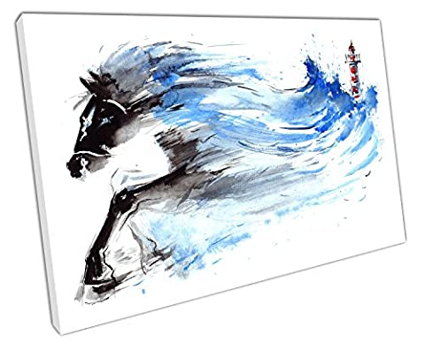 Küche & Badezimmer Banner Leuchtturm Storm Force Raging Pferde Aquarell - 45 x 30 x Depth 2cm