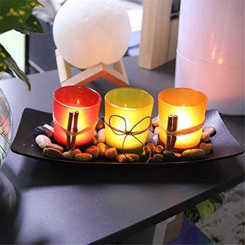 TriLance Dekoschale rechteckig mit 3 Kerzenhalter,Decorated European Candle Glass Decoration Ornaments Candlestick Cup,Hochzeit bar Dekoration Handwerk Glas kerzenhalter Windlichthalter (A) -