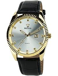 BELLOS - Herren ArmbanduhrSilber Gold  Quarz Stahl Datum Analog Display Typ stilvoll Sport Modus Armband schwarzKunstleder