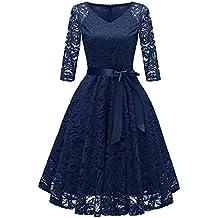 RAISEVERN Vestiti Donna Elegante Cerimonia 1 2 Lunghi Maniche con Una  Cintura Sera Abito Retro b05f6e37cb9