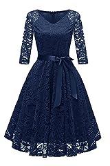 Idea Regalo - RAISEVERN retrò Abito Rockabilly Vintage Donna Pizzo Vestito Elegante Cerimonia Abiti da Sera Blu L