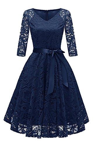 RAISEVERN retrò Abito Rockabilly Vintage Donna Pizzo Vestito Elegante Cerimonia Abiti da Sera Blu L