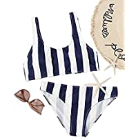 SOLYHUX Mujer Ropa de Baño Vestido de Playa Conjunto de Biquini de Rayas Tamaño S-L