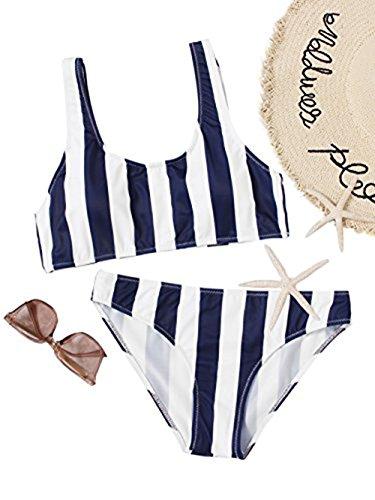 SOLYHUX Mujer Ropa de Baño Vestido de Playa Conjunto de Biquini de Rayas Tamaño L