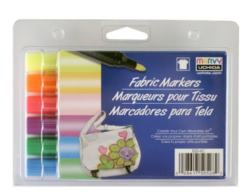 Sechs Color Fluorescent-set (Uchida 520-6C Marvy Bold Point Tip Fluorescent Color Fabric Marker Set by UCHIDA)