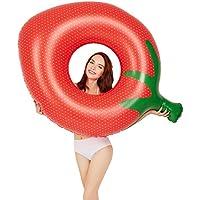 ZHANGJIANJUN Verano Espesar inflables Fresa Anillo Nadar Nadar de Forma Flotante Círculo Nadar para Adultos