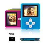 Btopllc MP3 / MP4 Player Musik-Player / Video Player Media Player 16 GB Mini-USB-Anschluss wiederaufladbar Schlankes klassisches Digital LCD MP3 / MP4 Medienplayer / Audio / Multimedia-Spieler - Blau
