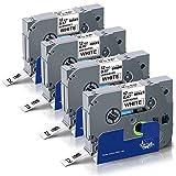 UniPlus 4x Kompatibel Brother Tze-231 Tze231 Tz-231 Schriftband 12mm 0.47 für Brother P-Touch 1010 H105 H100LB H100R 1000 D400 E100 H105WB D400VP P750W Etikettendruckern, Schwarz auf Weiß, 12mm x 8m